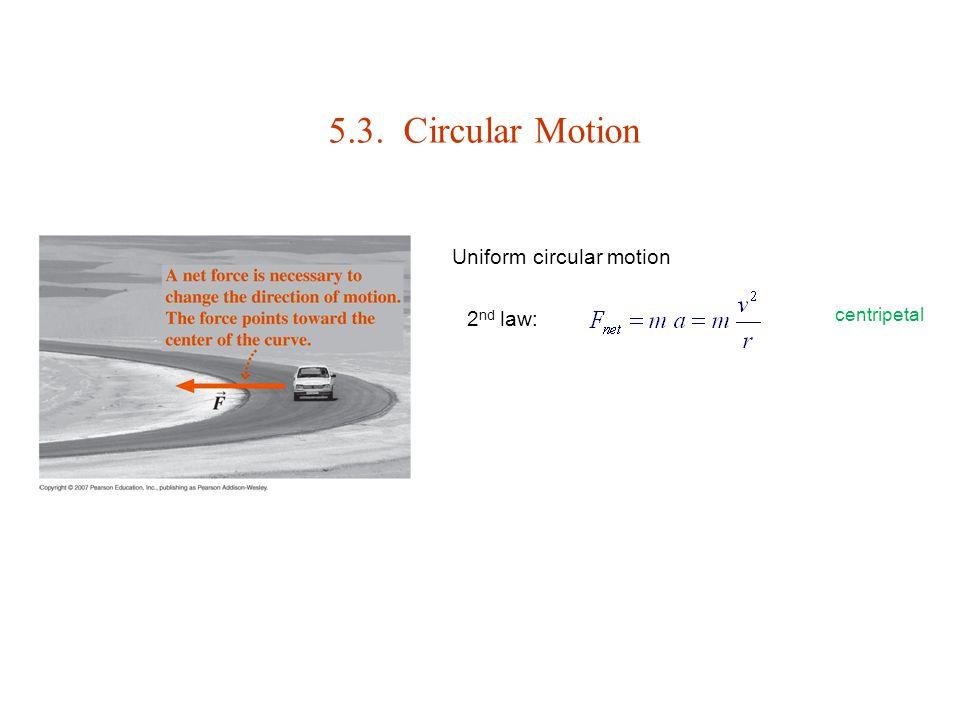5.3. Circular Motion 2 nd law: Uniform circular motion centripetal
