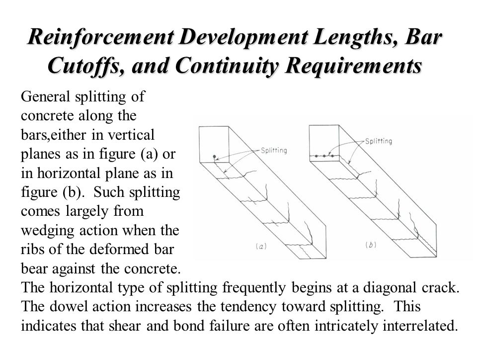 Reinforcement Development Lengths, Bar Cutoffs, and Continuity Requirements General splitting of concrete along the bars,either in vertical planes as