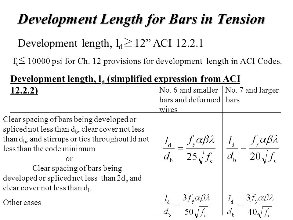 "Development Length for Bars in Tension Development length, l d 12"" ACI 12.2.1 f c 10000 psi for Ch. 12 provisions for development length in ACI Codes."