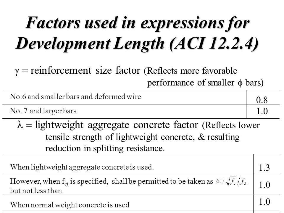 Factors used in expressions for Development Length (ACI 12.2.4)  reinforcement size factor (Reflects more favorable performance of smaller  bars