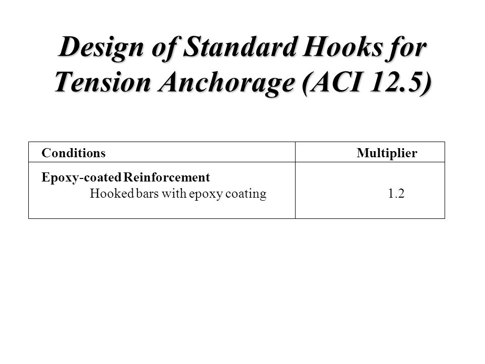 Design of Standard Hooks for Tension Anchorage (ACI 12.5) Conditions Epoxy-coated Reinforcement Hooked bars with epoxy coating Multiplier 1.2