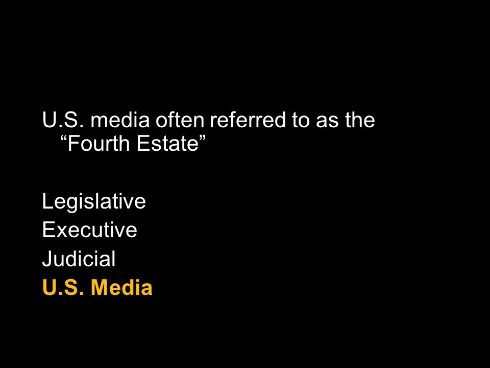 U.S. media often referred to as the Fourth Estate Legislative Executive Judicial U.S. Media