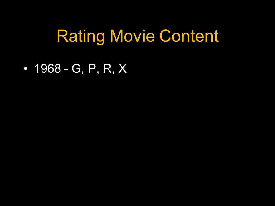 Rating Movie Content 1968 - G, P, R, X