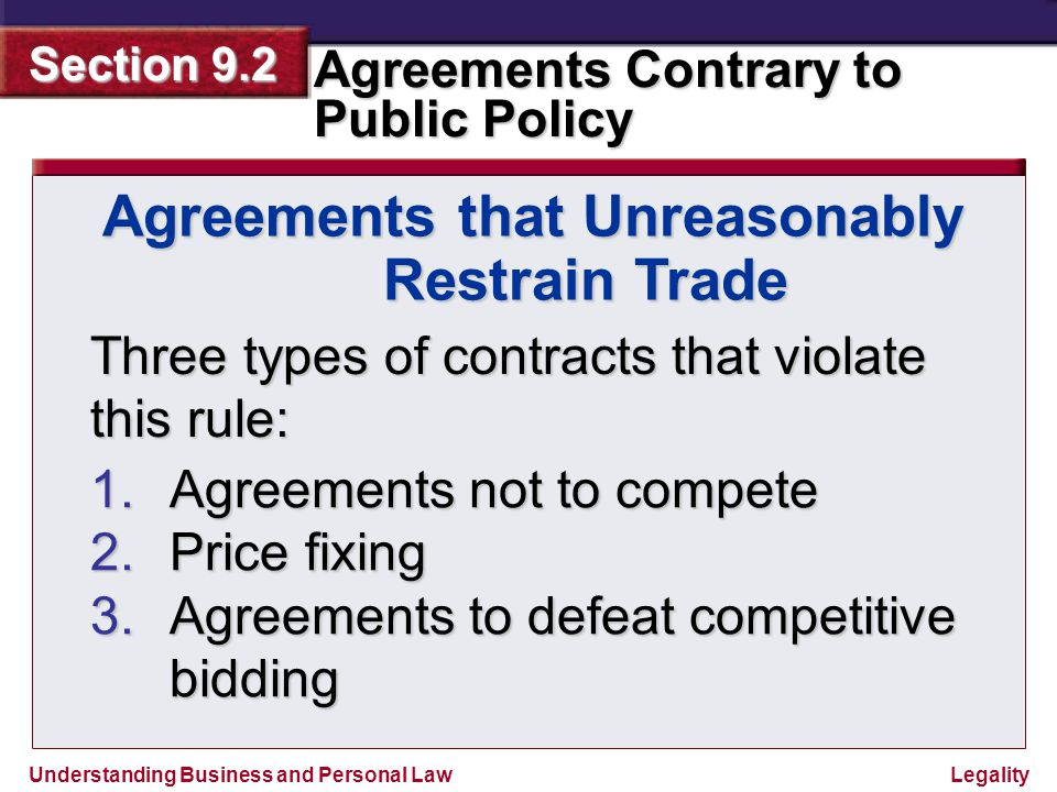 Understanding Business and Personal Law Agreements Contrary to Public Policy Section 9.2 Legality Outright Contracts Not to Compete When a business owner sells a business, sometimes the sales contract will include a provision called a restrictive covenant, which is a promise not to compete.
