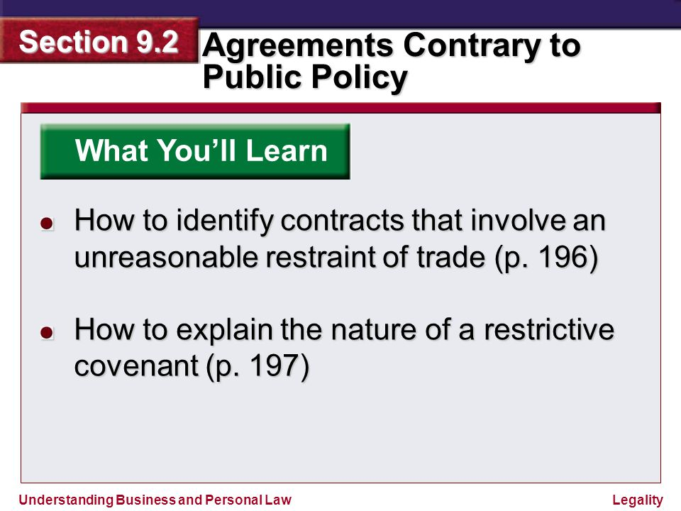 Understanding Business and Personal Law Agreements Contrary to Public Policy Section 9.2 Legality Why It's Important By understanding public policy and contracts that are contrary to public policy, you will be able to avoid common problems associated with violations of this important legal doctrine.