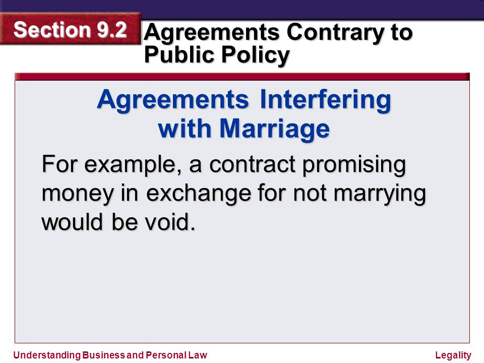 Understanding Business and Personal Law Agreements Contrary to Public Policy Section 9.2 Legality Pre-Learning Question How does the illegality of a contract affect the parties to that contract?
