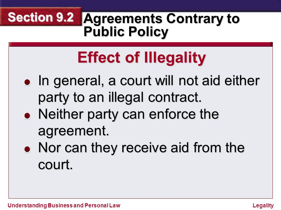Understanding Business and Personal Law Agreements Contrary to Public Policy Section 9.2 Legality Reviewing What You Learned 1.
