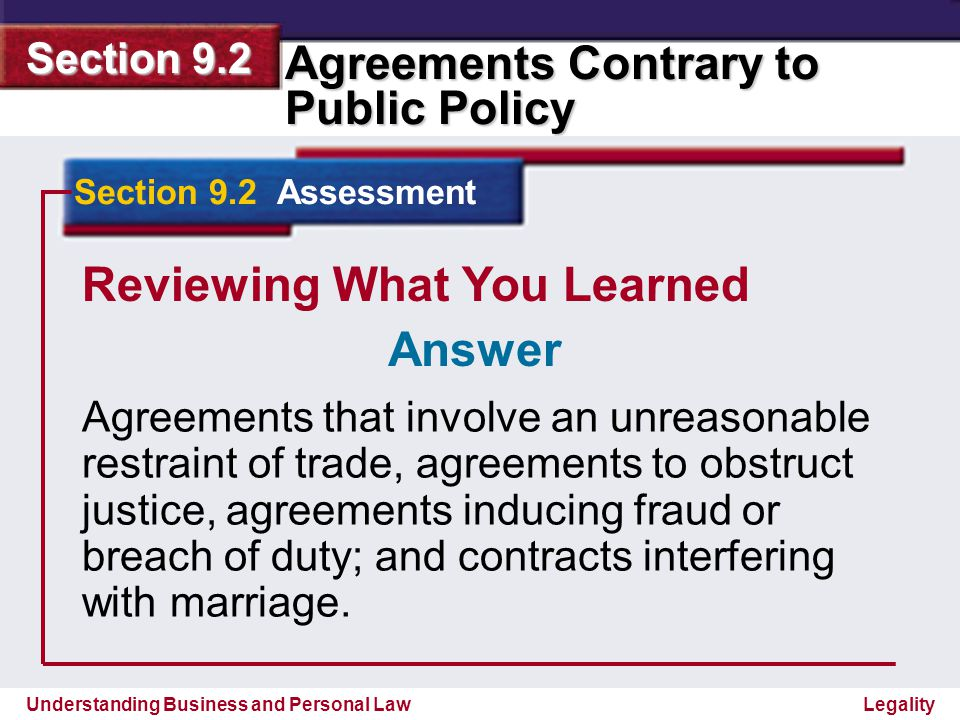 Understanding Business and Personal Law Agreements Contrary to Public Policy Section 9.2 Legality Reviewing What You Learned 3.