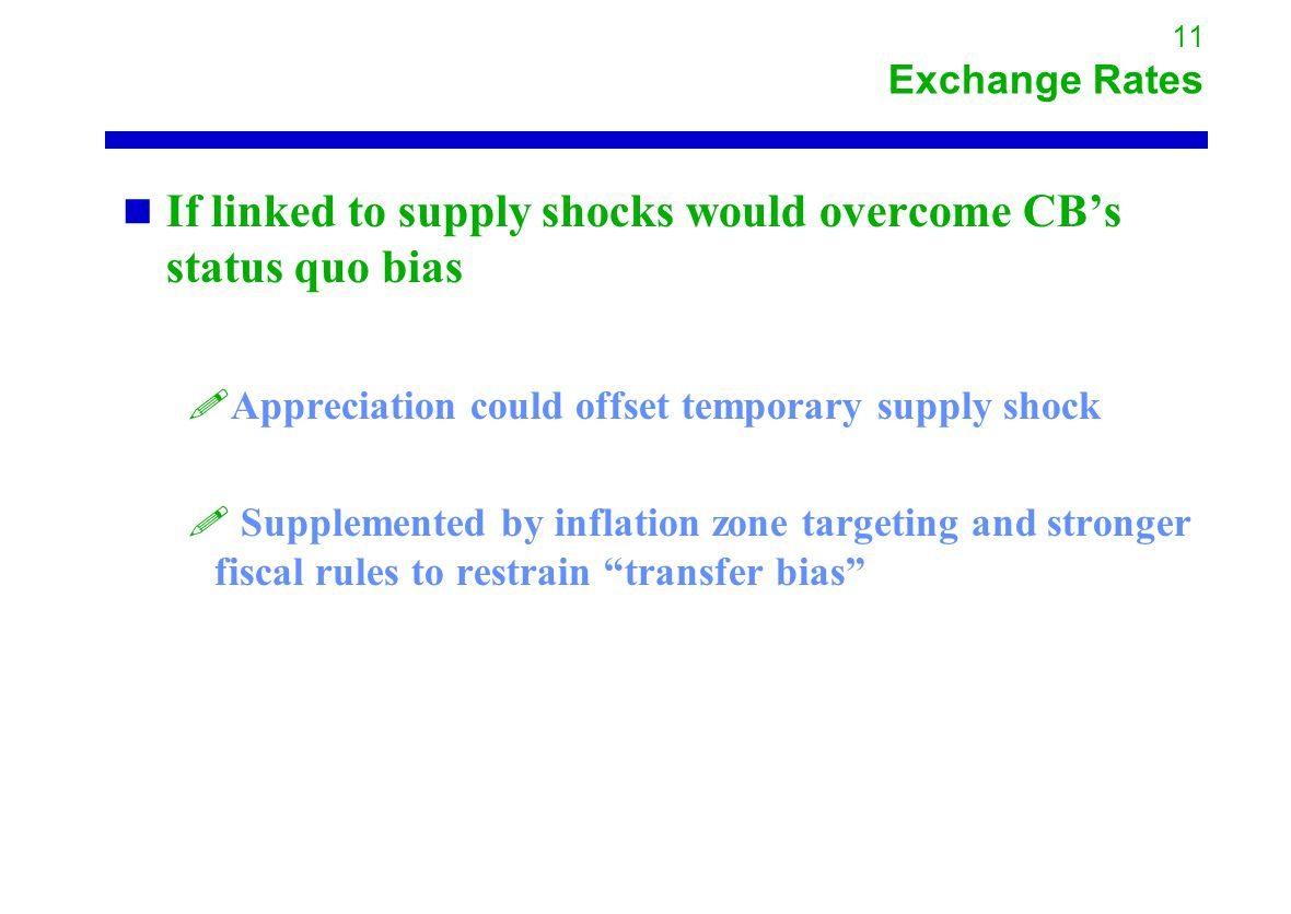 11 Exchange Rates If linked to supply shocks would overcome CB's status quo bias !Appreciation could offset temporary supply shock .