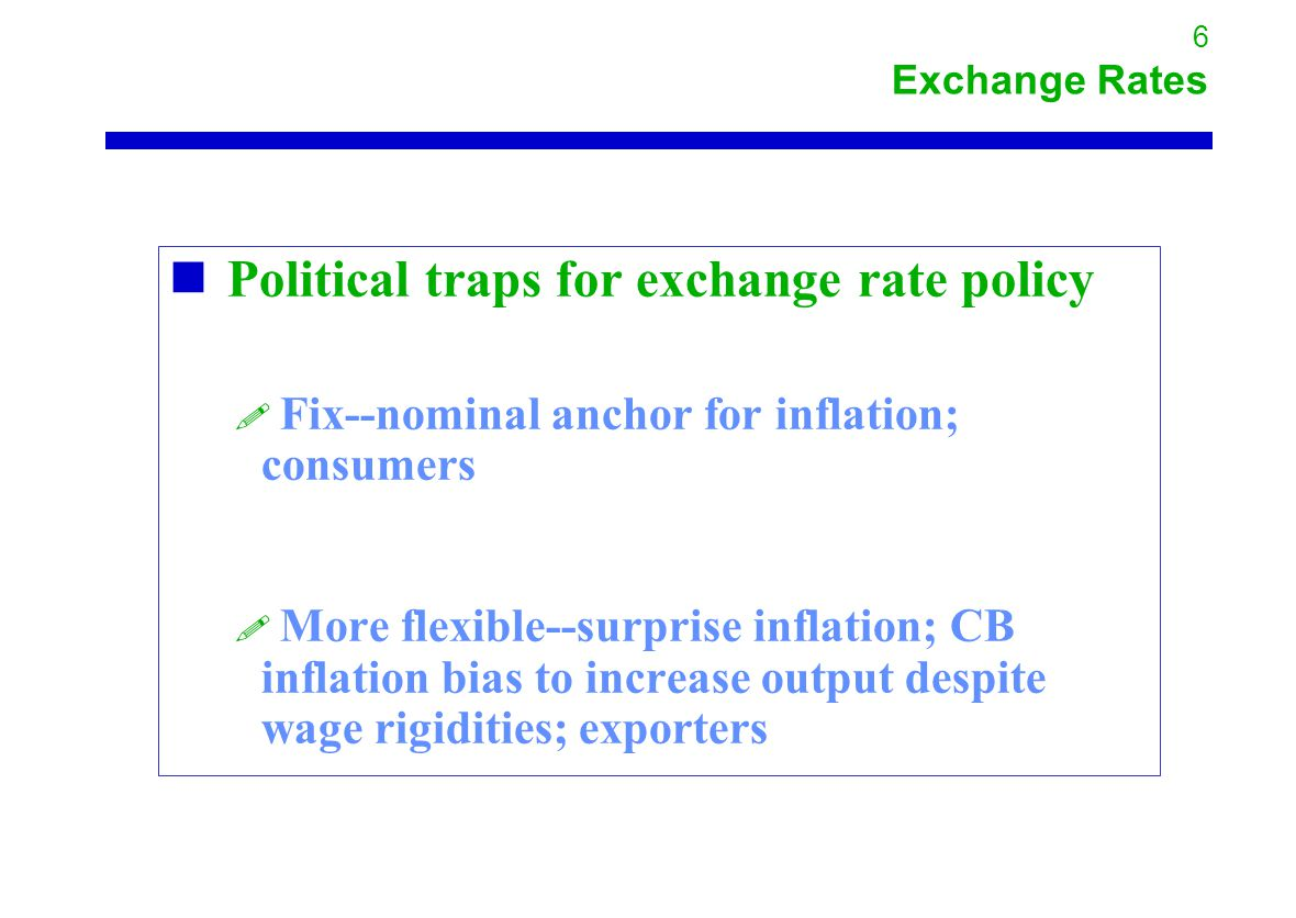 6 Exchange Rates Political traps for exchange rate policy .