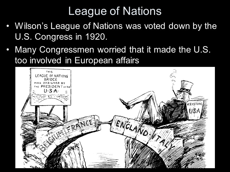 League of Nations Wilson's League of Nations was voted down by the U.S.