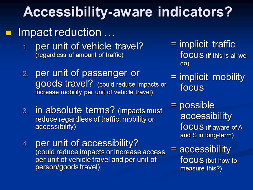 Accessibility-aware indicators. Impact reduction … Impact reduction … 1.
