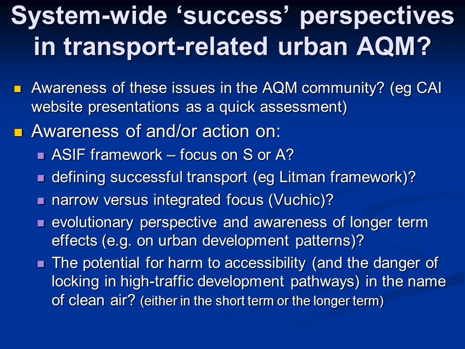 System-wide 'success' perspectives in transport-related urban AQM.