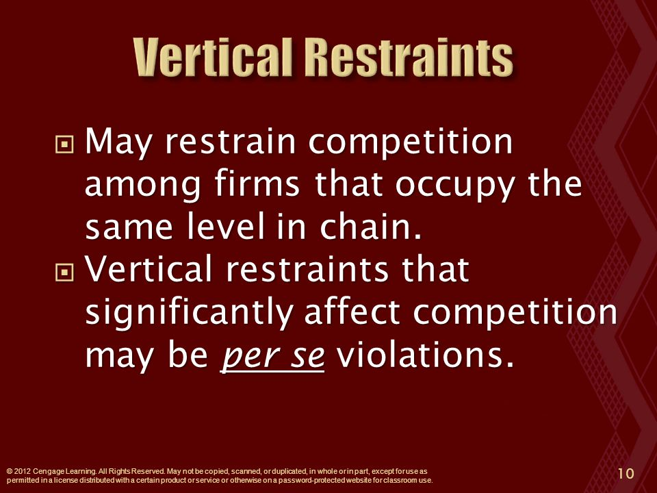  May restrain competition among firms that occupy the same level in chain.