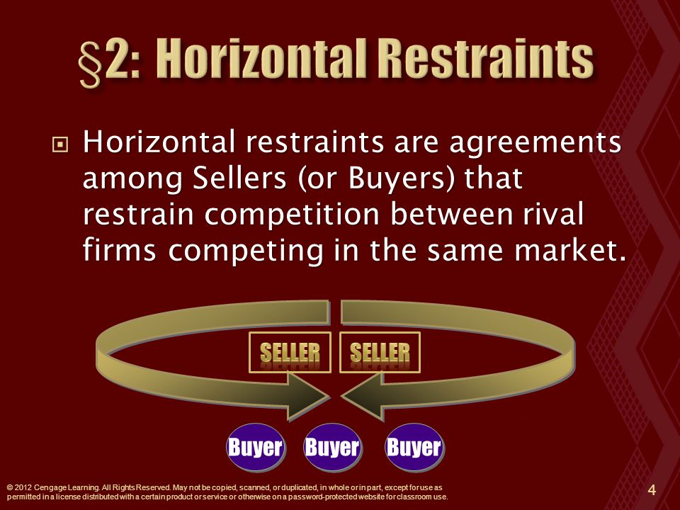  Horizontal restraints are agreements among Sellers (or Buyers) that restrain competition between rival firms competing in the same market.