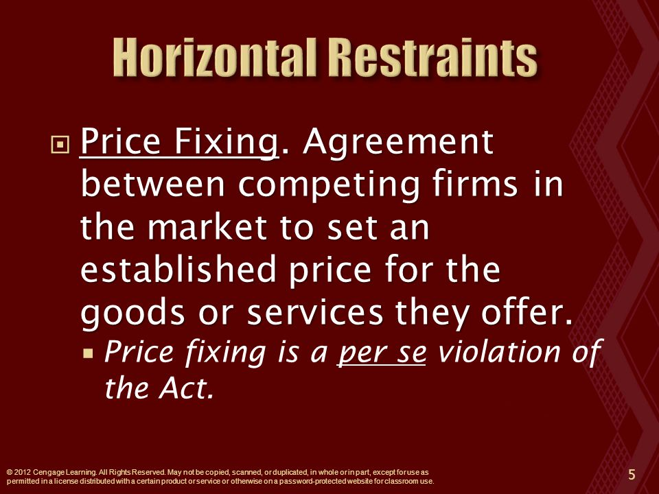  Price Fixing. Agreement between competing firms in the market to set an established price for the goods or services they offer.  Price fixing is a
