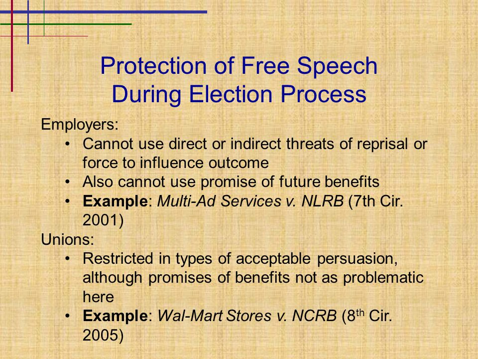 Protection of Free Speech During Election Process Employers: Cannot use direct or indirect threats of reprisal or force to influence outcome Also cann