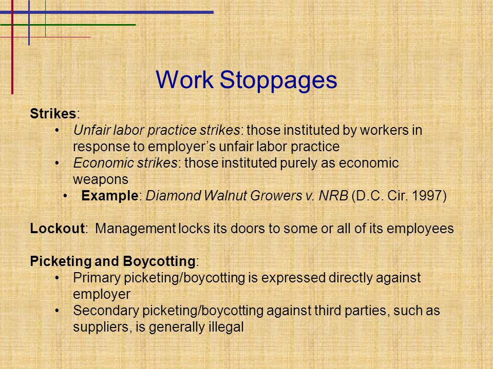 Work Stoppages Strikes: Unfair labor practice strikes: those instituted by workers in response to employer's unfair labor practice Economic strikes: t