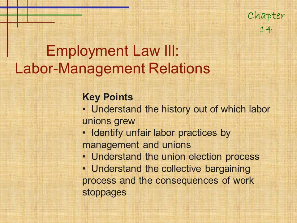 Employment Law III: Labor-Management Relations Key Points Understand the history out of which labor unions grew Identify unfair labor practices by management and unions Understand the union election process Understand the collective bargaining process and the consequences of work stoppages Chapter 14