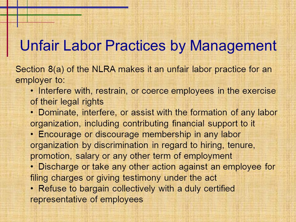 Unfair Labor Practices by Management Section 8(a) of the NLRA makes it an unfair labor practice for an employer to: Interfere with, restrain, or coerce employees in the exercise of their legal rights Dominate, interfere, or assist with the formation of any labor organization, including contributing financial support to it Encourage or discourage membership in any labor organization by discrimination in regard to hiring, tenure, promotion, salary or any other term of employment Discharge or take any other action against an employee for filing charges or giving testimony under the act Refuse to bargain collectively with a duly certified representative of employees