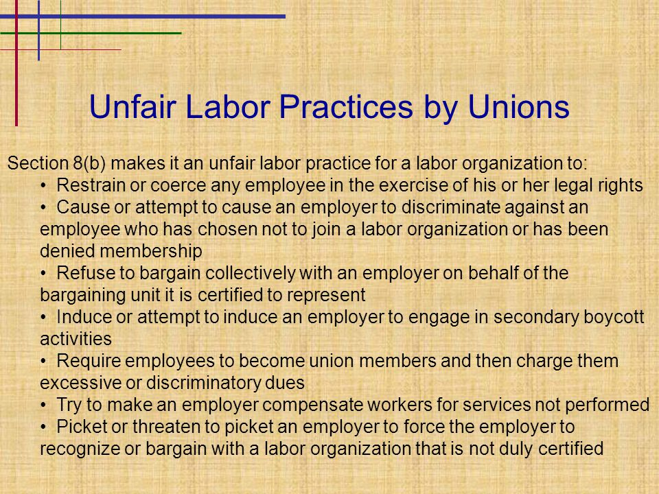 Unfair Labor Practices by Unions Section 8(b) makes it an unfair labor practice for a labor organization to: Restrain or coerce any employee in the ex