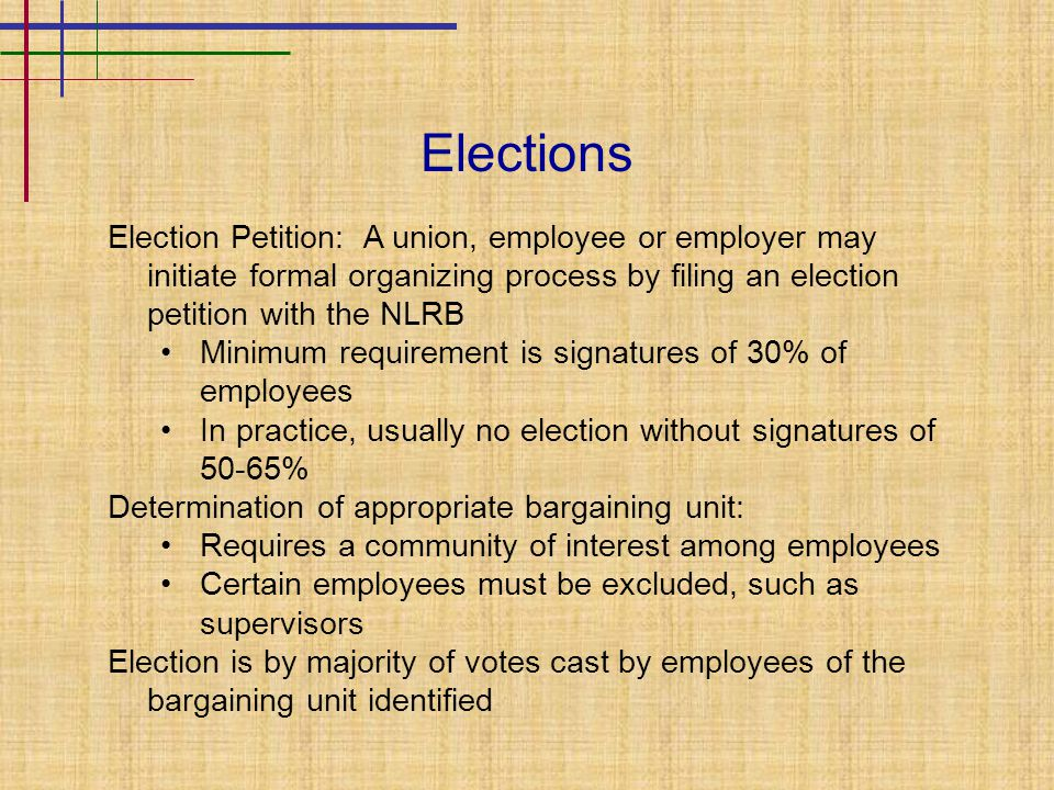 Elections Election Petition: A union, employee or employer may initiate formal organizing process by filing an election petition with the NLRB Minimum requirement is signatures of 30% of employees In practice, usually no election without signatures of 50-65% Determination of appropriate bargaining unit: Requires a community of interest among employees Certain employees must be excluded, such as supervisors Election is by majority of votes cast by employees of the bargaining unit identified