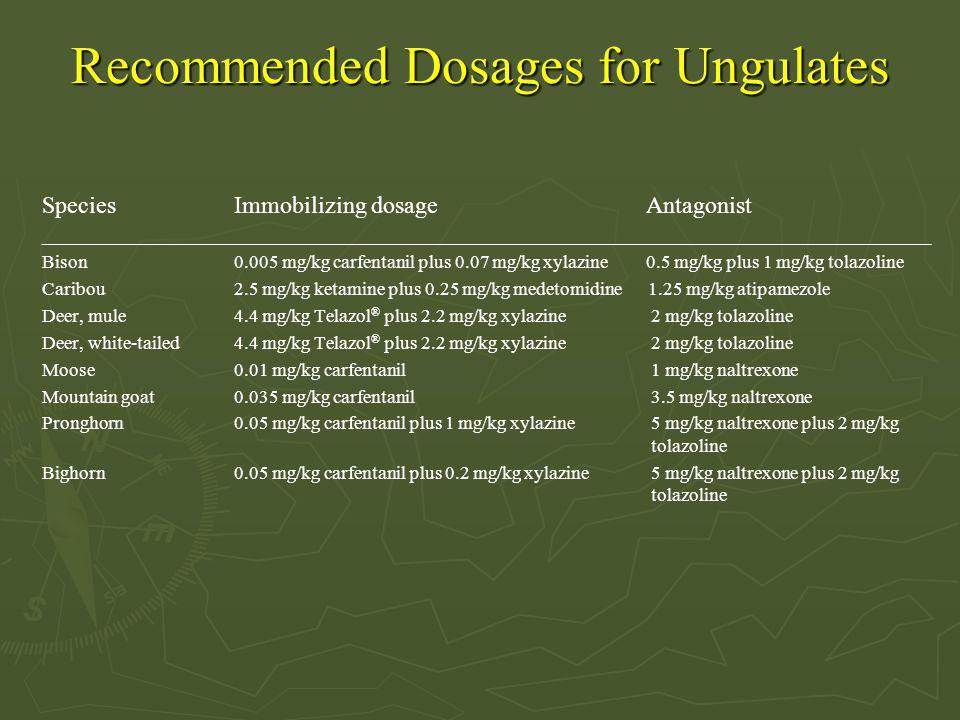 Recommended Dosages for Ungulates SpeciesImmobilizing dosage Antagonist _______________________________________________________________________________________________ Bison 0.005 mg/kg carfentanil plus 0.07 mg/kg xylazine 0.5 mg/kg plus 1 mg/kg tolazoline Caribou 2.5 mg/kg ketamine plus 0.25 mg/kg medetomidine 1.25 mg/kg atipamezole Deer, mule4.4 mg/kg Telazol ® plus 2.2 mg/kg xylazine 2 mg/kg tolazoline Deer, white-tailed4.4 mg/kg Telazol ® plus 2.2 mg/kg xylazine 2 mg/kg tolazoline Moose0.01 mg/kg carfentanil 1 mg/kg naltrexone Mountain goat0.035 mg/kg carfentanil 3.5 mg/kg naltrexone Pronghorn0.05 mg/kg carfentanil plus 1 mg/kg xylazine 5 mg/kg naltrexone plus 2 mg/kg tolazoline Bighorn0.05 mg/kg carfentanil plus 0.2 mg/kg xylazine 5 mg/kg naltrexone plus 2 mg/kg tolazoline