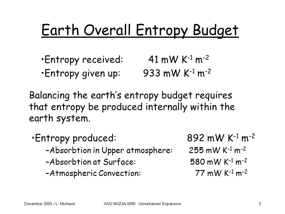 December 2005 / L. MichaudAGU NG23A-0090 Unrestrained Expansion2 Earth Overall Entropy Budget Balancing the earth's entropy budget requires that entro