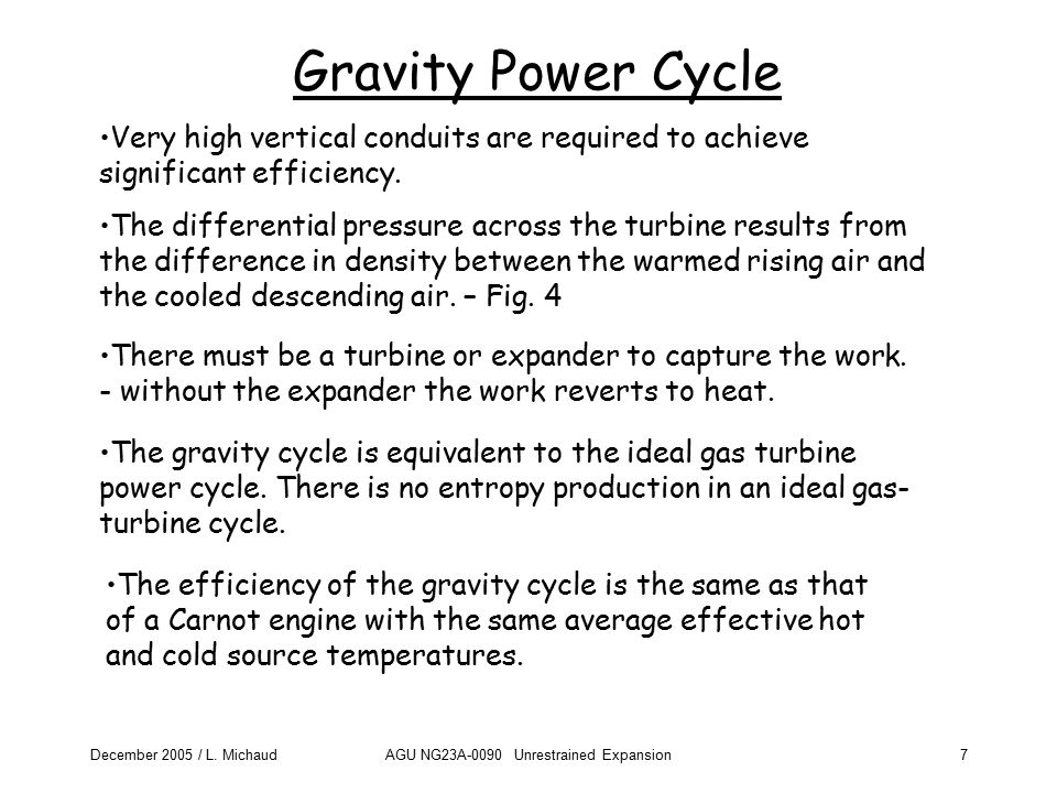December 2005 / L. MichaudAGU NG23A-0090 Unrestrained Expansion7 Gravity Power Cycle The differential pressure across the turbine results from the dif
