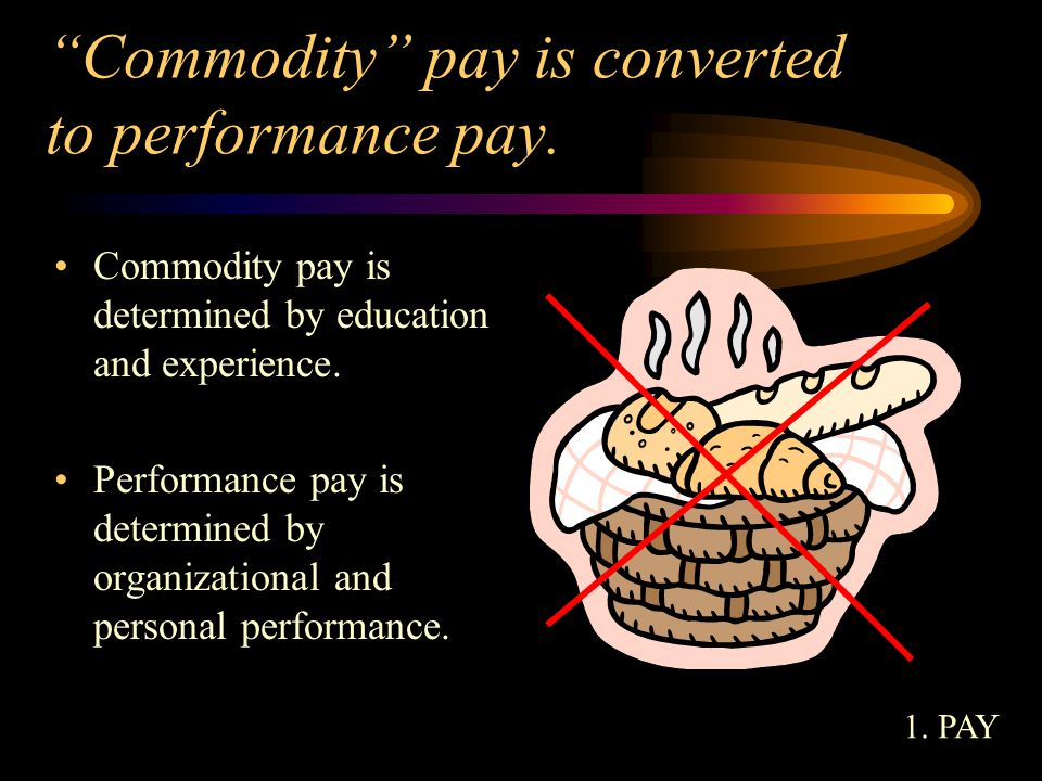 Commodity pay is converted to performance pay.