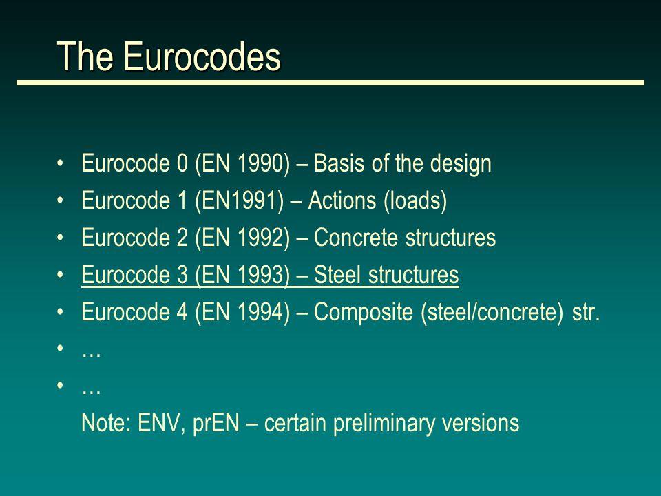 The Eurocodes Eurocode 0 (EN 1990) – Basis of the design Eurocode 1 (EN1991) – Actions (loads) Eurocode 2 (EN 1992) – Concrete structures Eurocode 3 (EN 1993) – Steel structures Eurocode 4 (EN 1994) – Composite (steel/concrete) str.