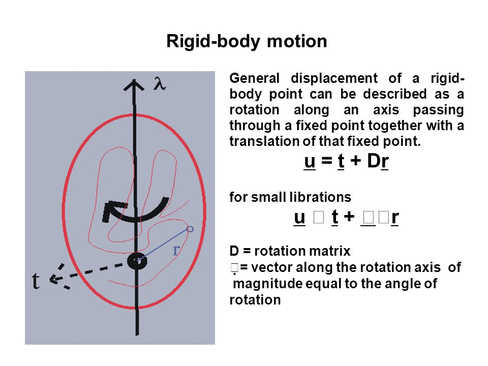 Rigid-body motion General displacement of a rigid- body point can be described as a rotation along an axis passing through a fixed point together with