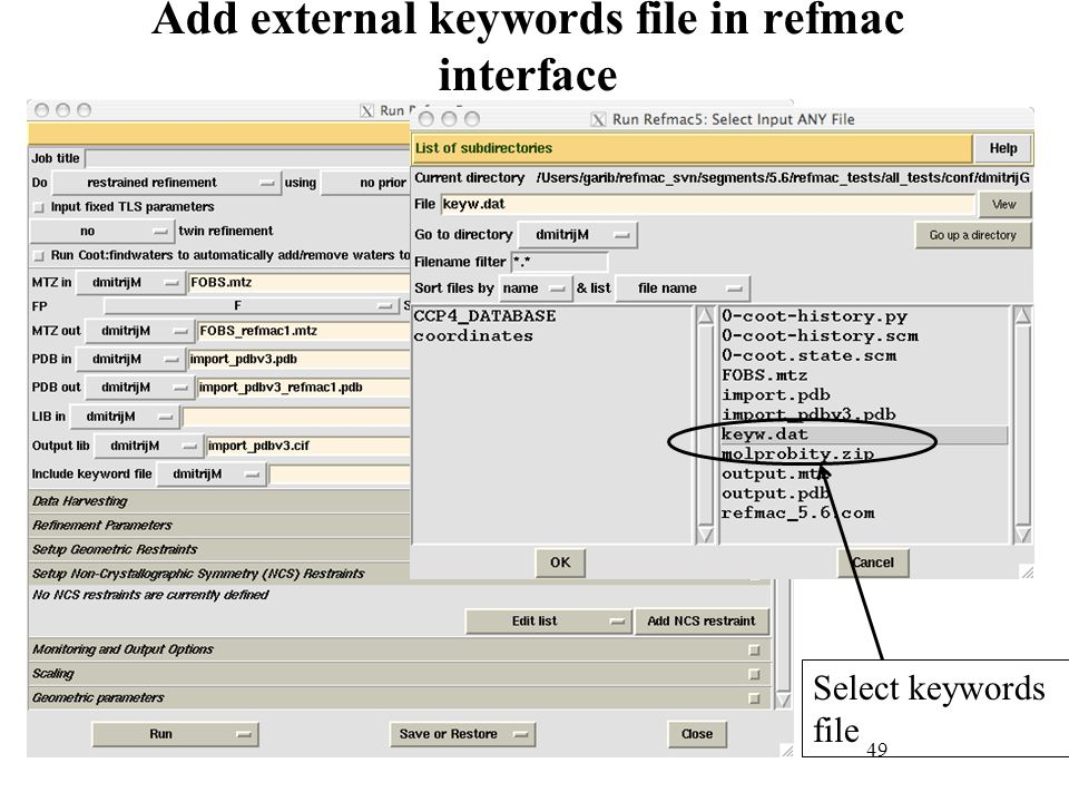 Add external keywords file in refmac interface 49 Select keywords file