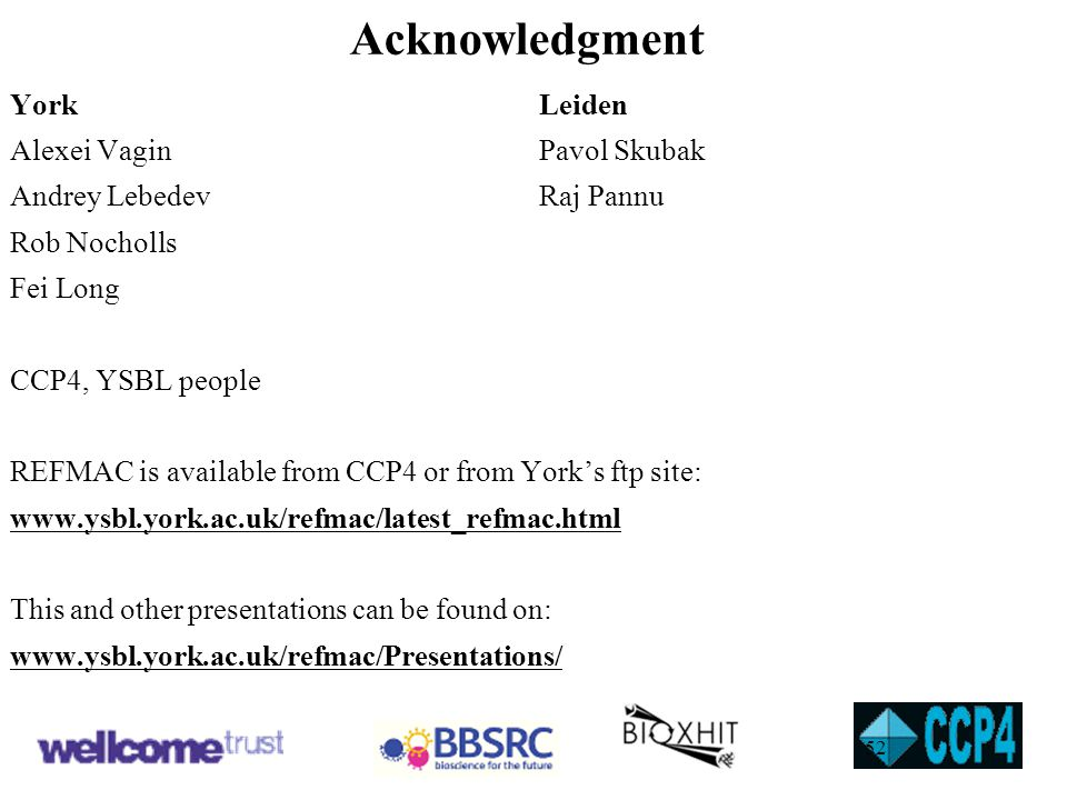 Acknowledgment YorkLeiden Alexei VaginPavol Skubak Andrey LebedevRaj Pannu Rob Nocholls Fei Long CCP4, YSBL people REFMAC is available from CCP4 or fr