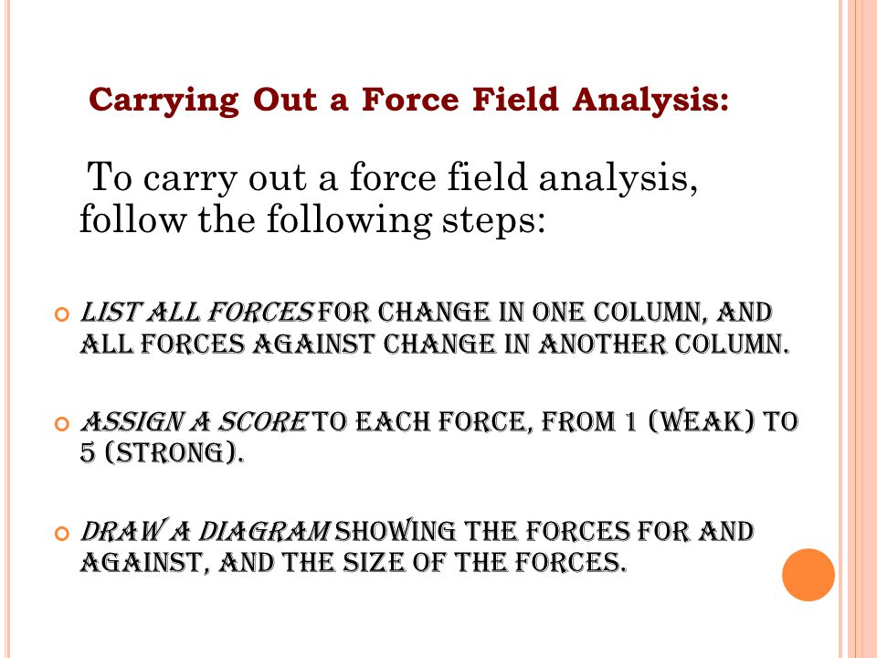 Carrying Out a Force Field Analysis: To carry out a force field analysis, follow the following steps: List all forces for change in one column, and all forces against change in another column.