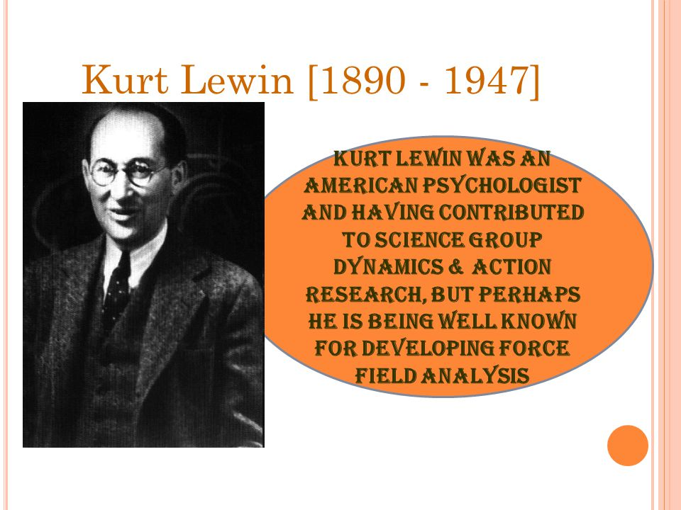 Kurt Lewin [1890 - 1947] Kurt Lewin was an American psychologist and having contributed to science group dynamics & action research, but perhaps he is being well known for developing force field analysis