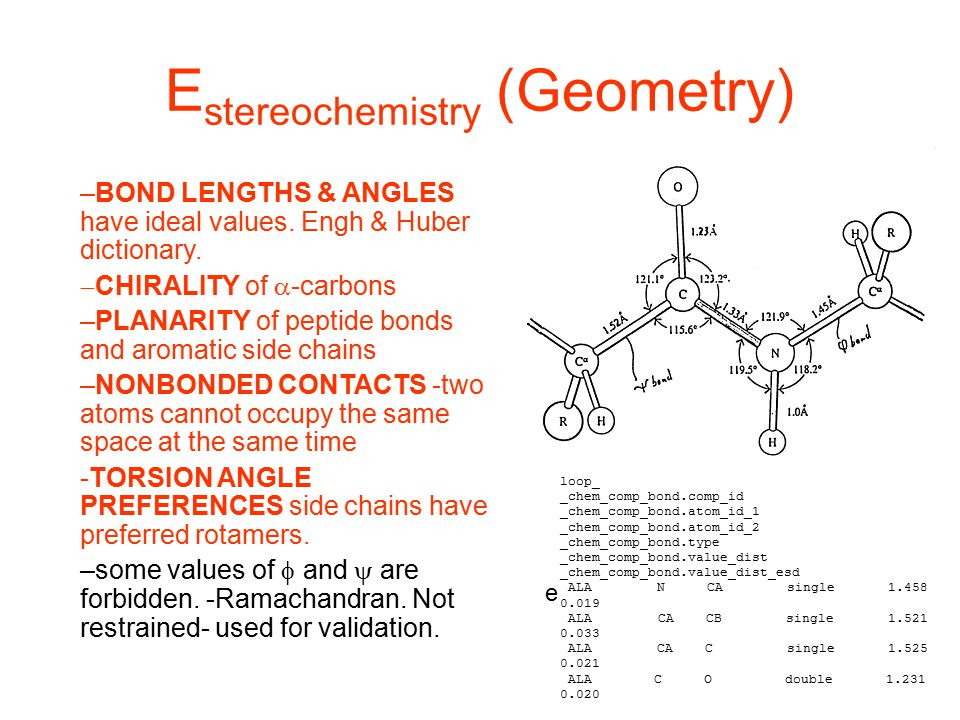 E stereochemistry (Geometry) –BOND LENGTHS & ANGLES have ideal values. Engh & Huber dictionary.  CHIRALITY of  -carbons –PLANARITY of peptide bonds