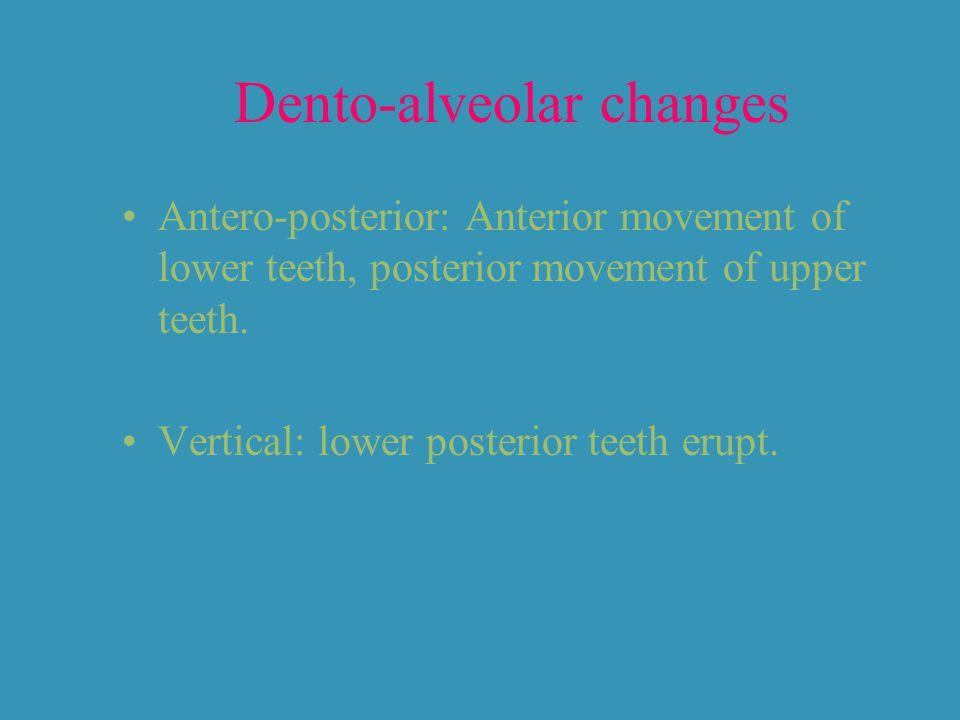Dento-alveolar changes Antero-posterior: Anterior movement of lower teeth, posterior movement of upper teeth. Vertical: lower posterior teeth erupt.