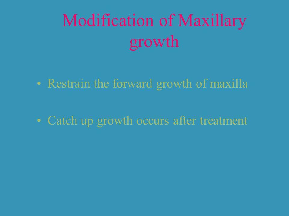 Modification of Maxillary growth Restrain the forward growth of maxilla Catch up growth occurs after treatment