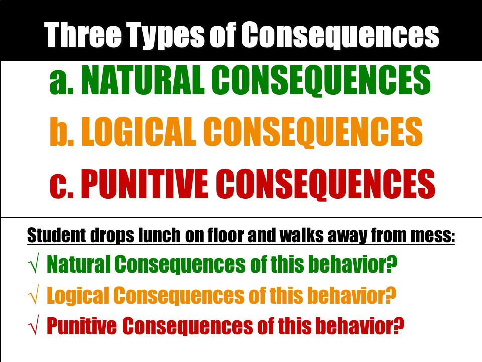Three Types of Consequences a. NATURAL CONSEQUENCES b. LOGICAL CONSEQUENCES c. PUNITIVE CONSEQUENCES Student drops lunch on floor and walks away from