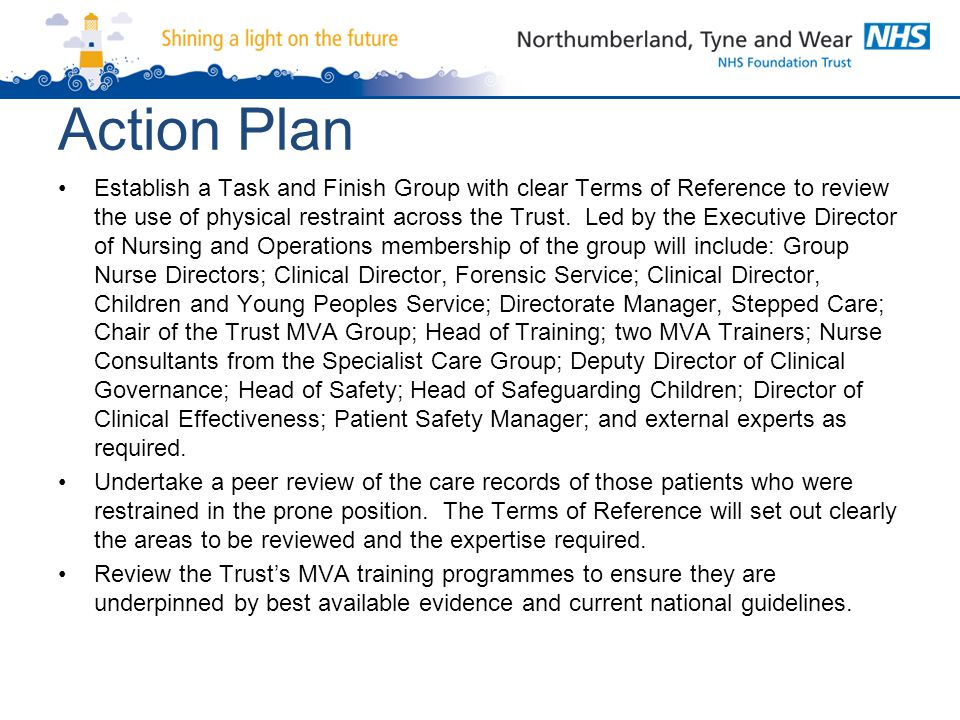Action Plan Establish a Task and Finish Group with clear Terms of Reference to review the use of physical restraint across the Trust. Led by the Execu