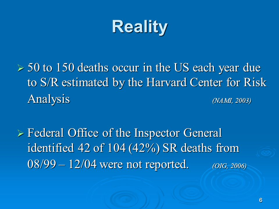6 Reality  50 to 150 deaths occur in the US each year due to S/R estimated by the Harvard Center for Risk Analysis (NAMI, 2003)  Federal Office of t