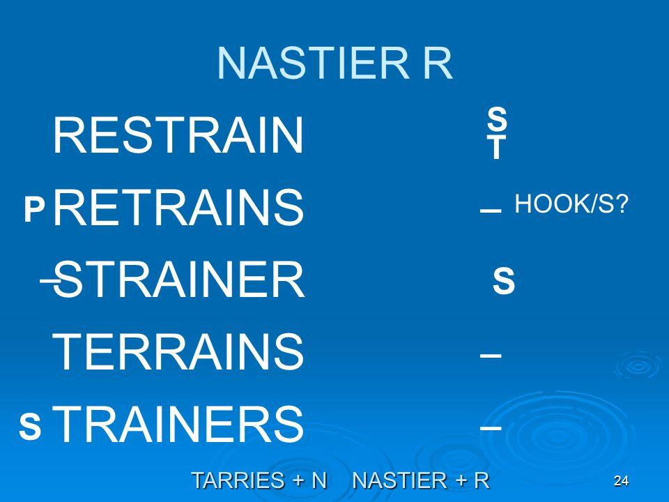 24 NASTIER R RESTRAIN RETRAINS STRAINER TERRAINS TRAINERS TARRIES + N NASTIER + R HOOK/S.