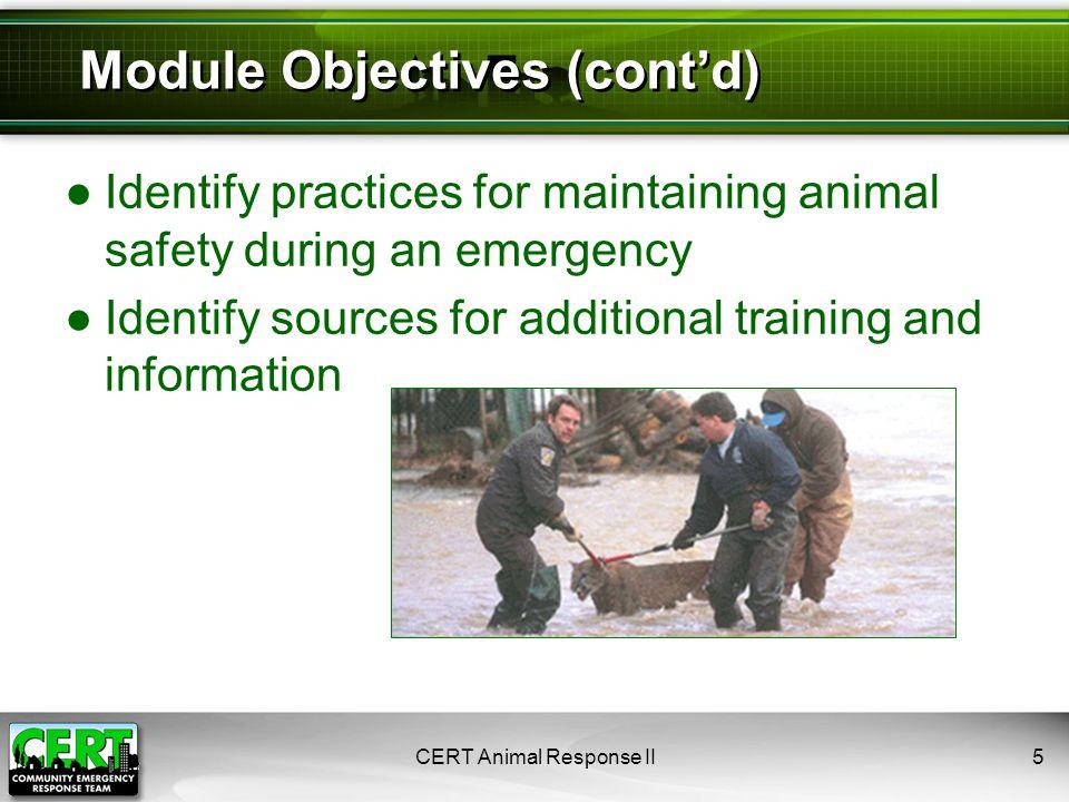 CERT Animal Response II6 CERT Functions That May Involve Animals