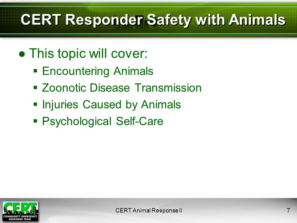 CERT Animal Response II8 Scenario