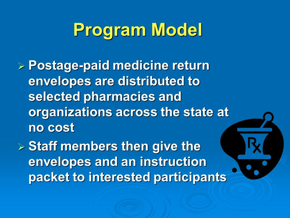  Postage-paid medicine return envelopes are distributed to selected pharmacies and organizations across the state at no cost  Staff members then give the envelopes and an instruction packet to interested participants Program Model