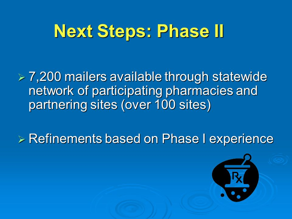  7,200 mailers available through statewide network of participating pharmacies and partnering sites (over 100 sites)  Refinements based on Phase I experience Next Steps: Phase II