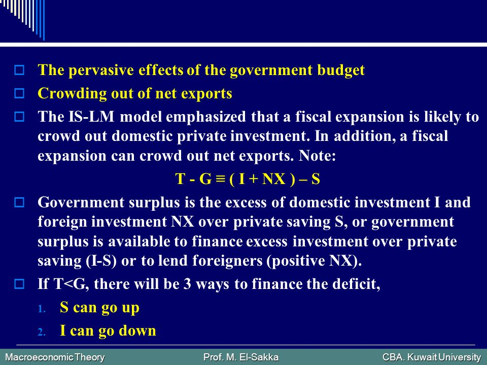 Macroeconomic Theory Prof.M. El-Sakka CBA. Kuwait University 3.