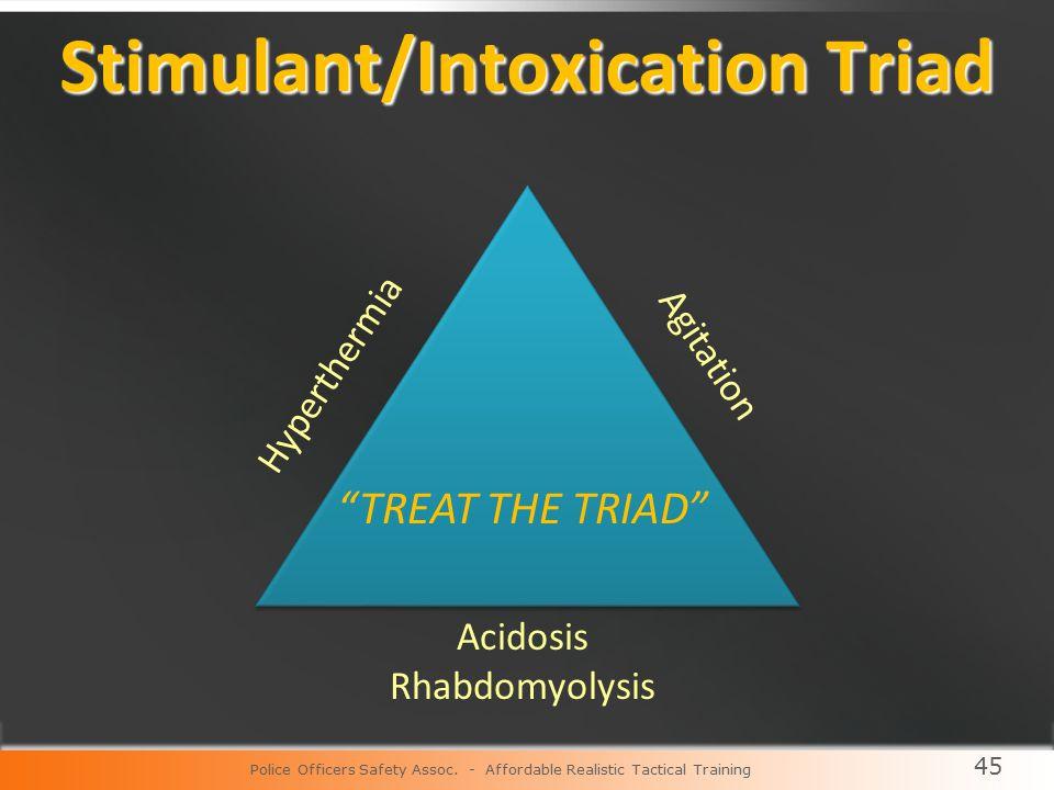 45 Stimulant/Intoxication Triad Hyperthermia Acidosis Rhabdomyolysis TREAT THE TRIAD Agitation Police Officers Safety Assoc.