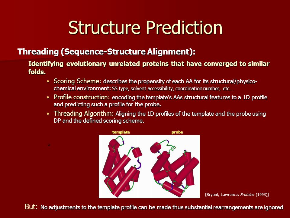 Structure Prediction Threading (Sequence-Structure Alignment): Identifying evolutionary unrelated proteins that have converged to similar folds.